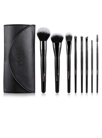 Artificial Fibre Unique 8Pcs Black PU Bag Makeup Supply