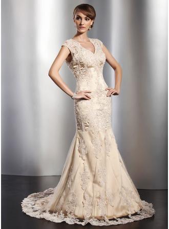 Trumpet Mermaid V Neck Court Train Tulle Wedding Dress