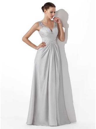 A-Line/Princess V-neck Floor-Length Satin Chiffon Prom Dress With Ruffle Beading