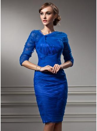 Sheath/Column V-neck Knee-Length Tulle Cocktail Dress With Ruffle