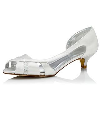 Women's Satin Low Heel Sandals Dyeable Shoes