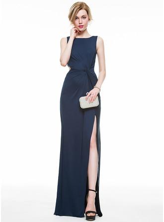 Sheath/Column Scoop Neck Floor-Length Jersey Evening Dress With Ruffle Split Front