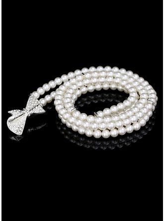 Gorgeous Imitation Pearls Belt With Rhinestones