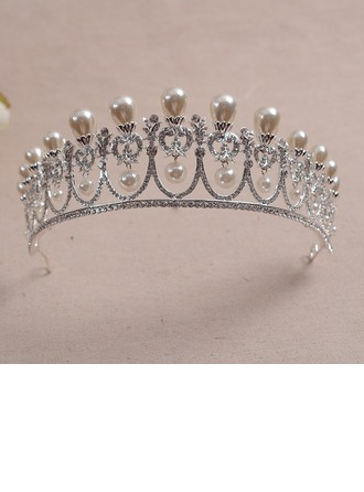 Ladies Beautiful Alloy/Imitation Pearls/Platinum Plated Tiaras