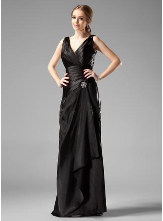 Sheath/Column V-neck Floor-Length Charmeuse Bridesmaid Dress With Crystal Brooch Cascading Ruffles