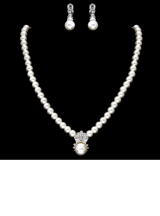 Elegant Pearl With Rhinestone Ladies' Jewelry Sets