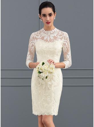 Most popular reception wedding dresses affordable under 100 sheathcolumn scoop neck shortmini lace wedding dress 002127281 junglespirit Images