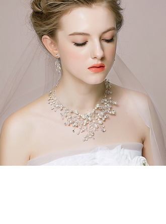 Elegant Alloy/Copper/Silver Plated With Rhinestone/Crystal/Imitation Pearls Ladies' Jewelry Sets