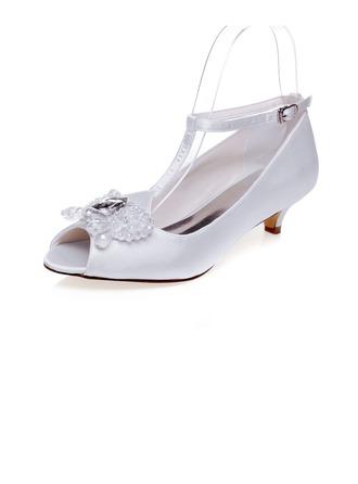 Women's Satin Low Heel Peep Toe Sandals With Beading