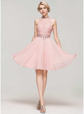 A-Line/Princess High Neck Knee-Length Chiffon Cocktail Dress With Beading Sequins