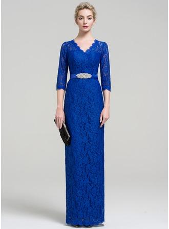 Sheath/Column V-neck Floor-Length Lace Evening Dress With Beading Split Front