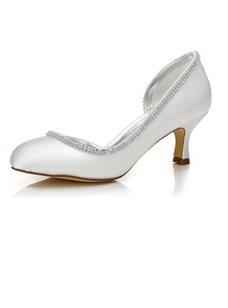 Women's Satin Low Heel Closed Toe Pumps Dyeable Shoes With Rhinestone