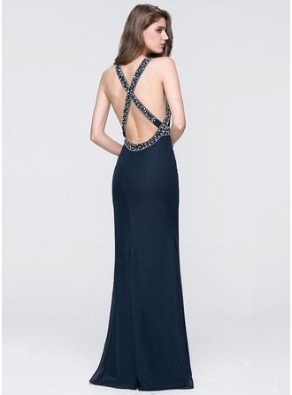 Trumpet/Mermaid Scoop Neck Floor-Length Chiffon Prom Dress With Beading Sequins
