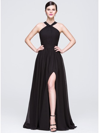 A-Line/Princess V-neck Sweep Train Chiffon Evening Dress With Ruffle Beading Sequins Split Front