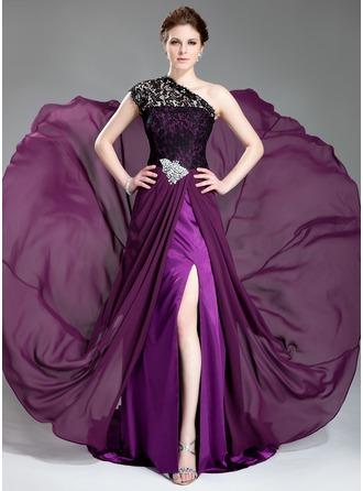 A-Line/Princess One-Shoulder Court Train Chiffon Lace Evening Dress With Beading Split Front