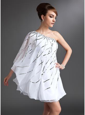 Sheath/Column One-Shoulder Short/Mini Chiffon Cocktail Dress With Beading Sequins