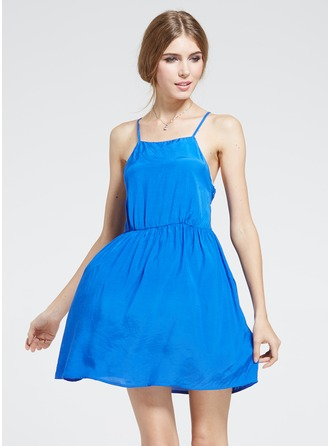 Polyester/Cotton With Stitching Mini Dress