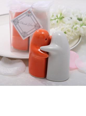 White & Orange Ceramic Salt & Pepper Shakers