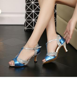 Women's Sparkling Glitter Heels Sandals Latin Ballroom With T-Strap Dance Shoes