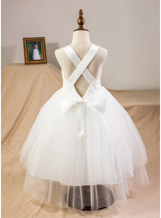 Ball Gown Tea-length Flower Girl Dress - Satin/Tulle/Lace Straps With Bow(s)