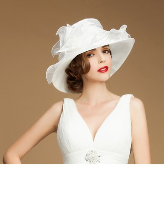 Ladies' Beautiful Summer Organza With Bowler/Cloche Hat