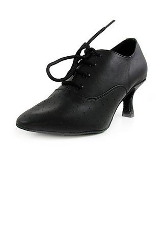 Women's Real Leather Heels Pumps Ballroom Swing Dance Shoes