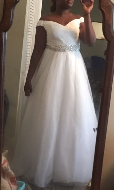 Ball Gown Off The Shoulder Cathedral Train Tulle Wedding Dress With