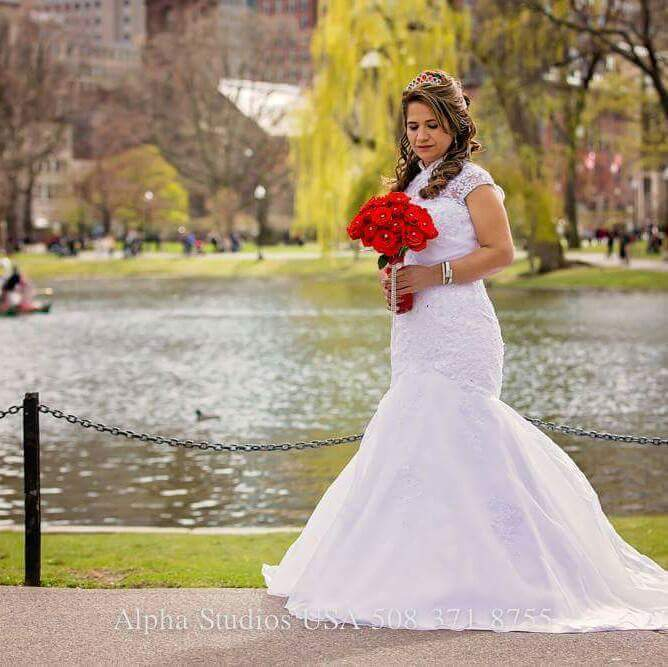 Trumpet Mermaid High Neck Cathedral Train Organza Lace Wedding
