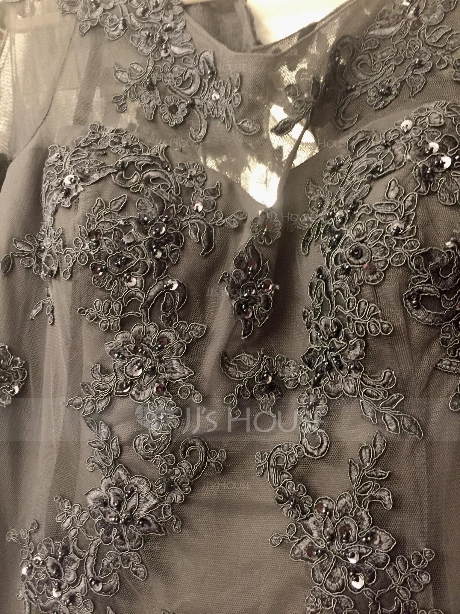 A-Linie/Princess-Linie U-Ausschnitt Bodenlang Tüll Kleid für die Brautmutter mit Perlstickerei Pailletten (008091961)
