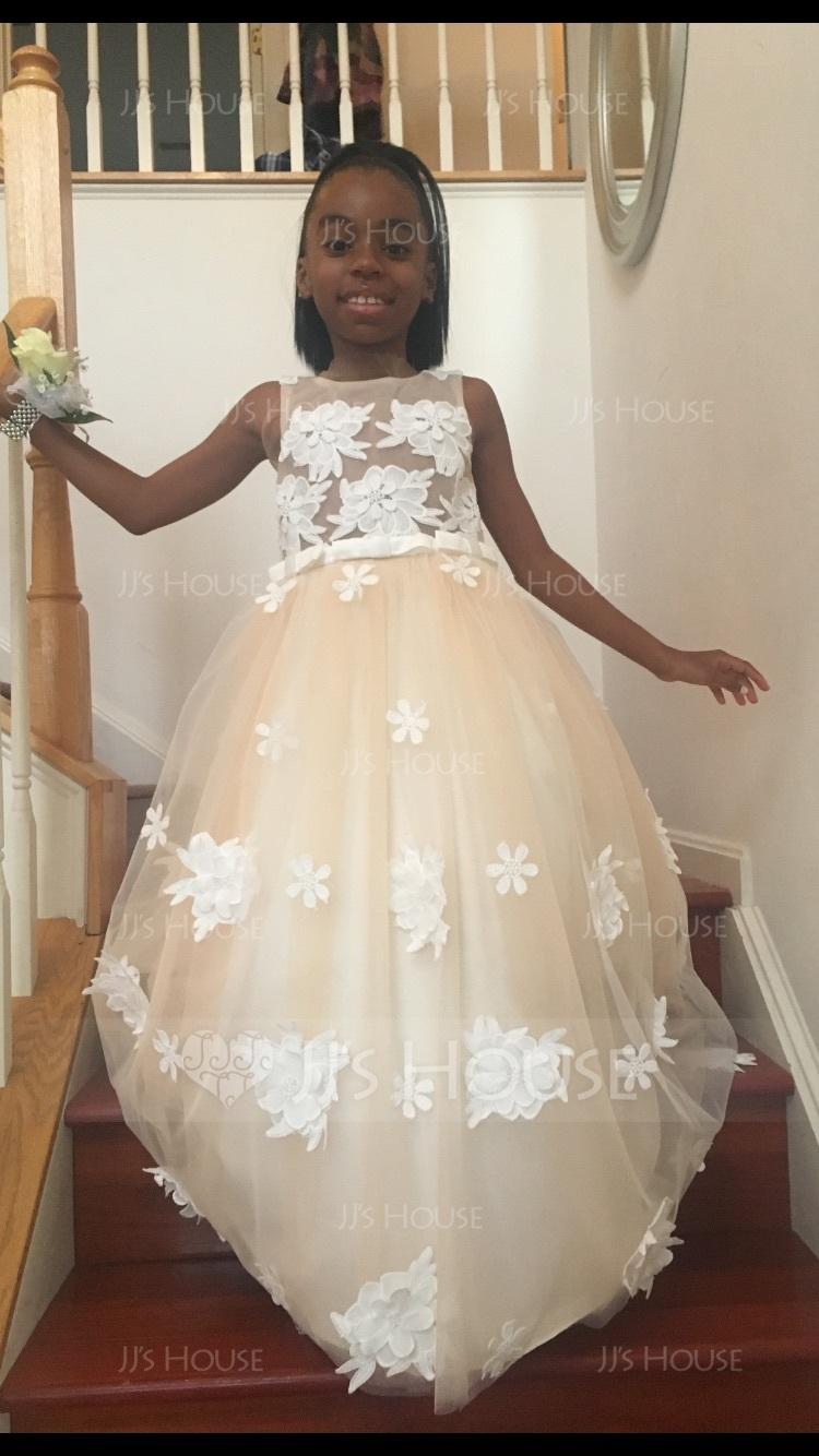 Duchesse-Linie/Princess U-Ausschnitt Bodenlang Tüll Kleider für junge Brautjungfern mit Blumen Schleife(n) (009130493)