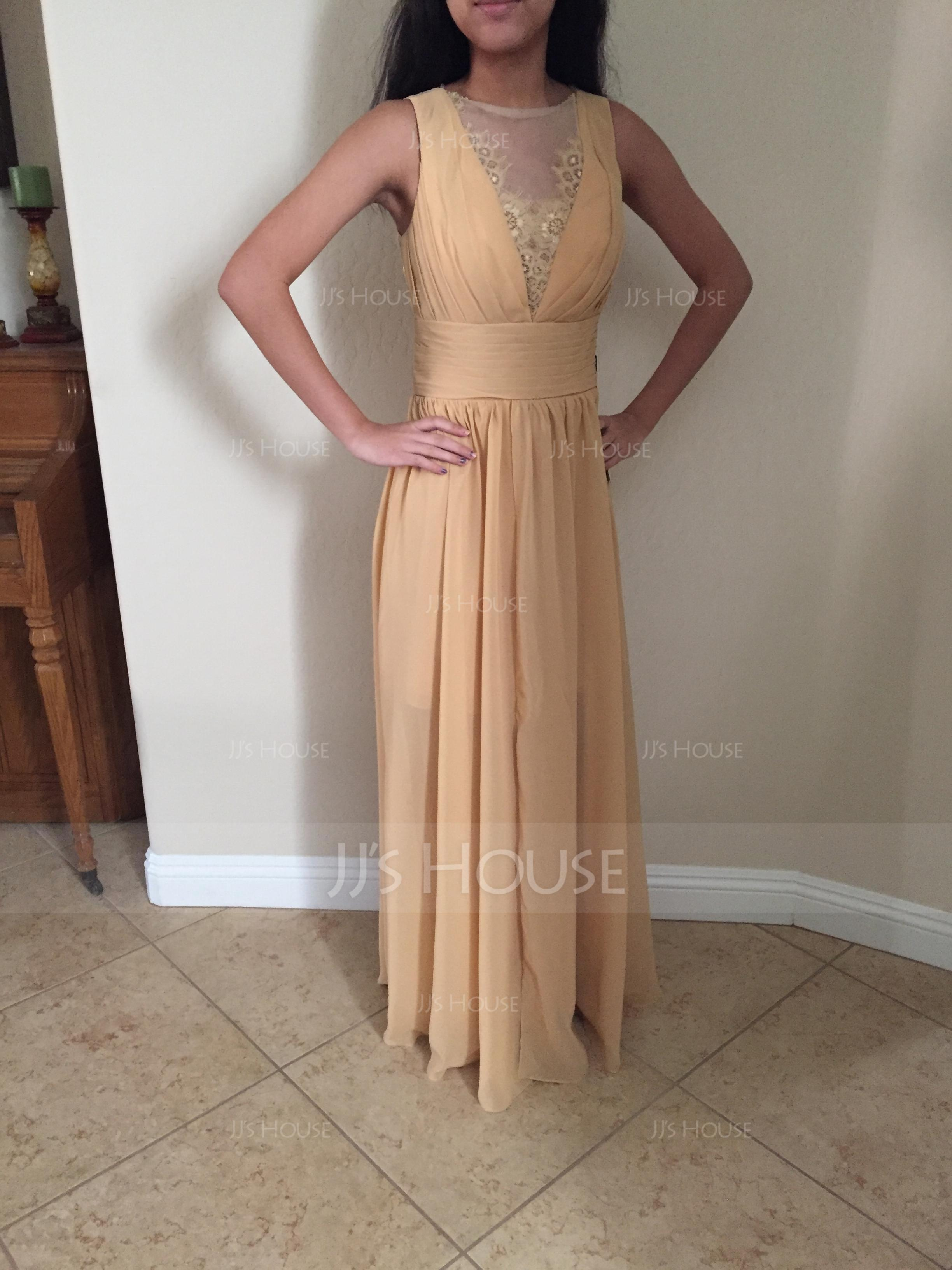 A-Line Scoop Neck Asymmetrical Chiffon Bridesmaid Dress With Ruffle Lace Beading (007090231)