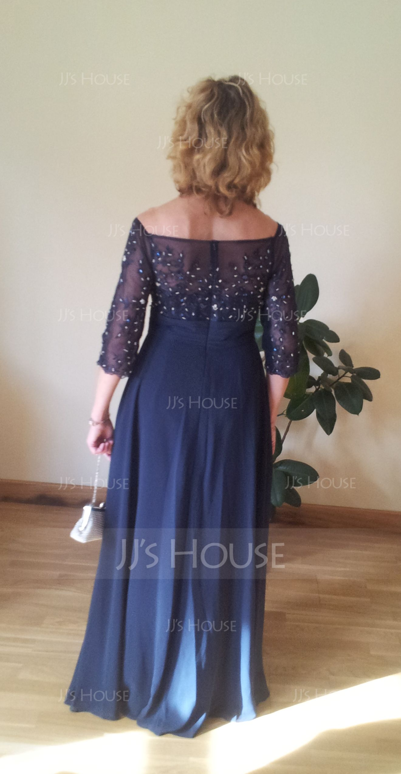 Off-the-Shoulder Floor-Length Chiffon Mother of the Bride Dress With Beading Appliques Lace Sequins (267196281)