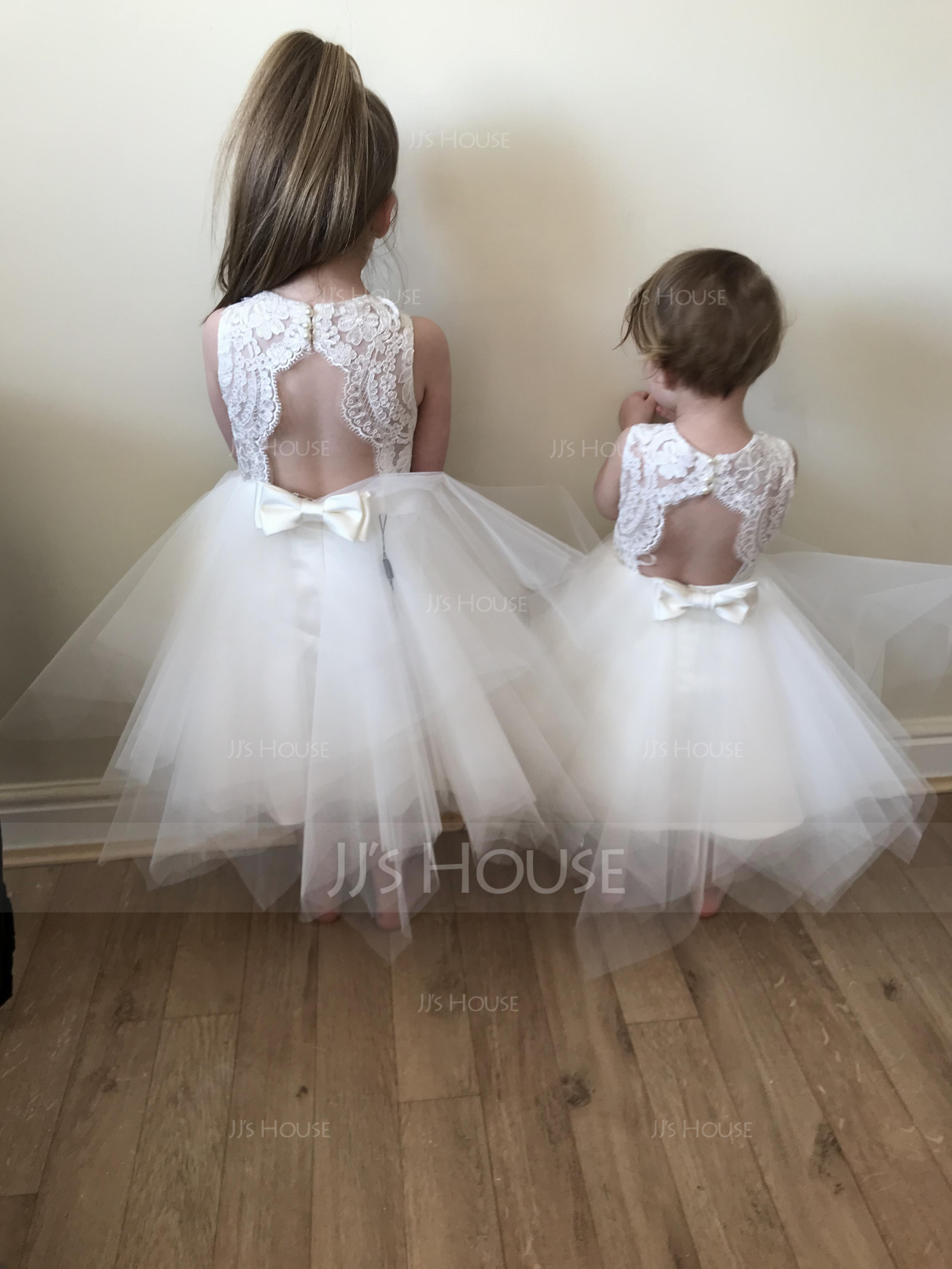 A-Line/Princess Knee-length Flower Girl Dress - Tulle/Lace Sleeveless Scoop Neck With Back Hole (010144109)