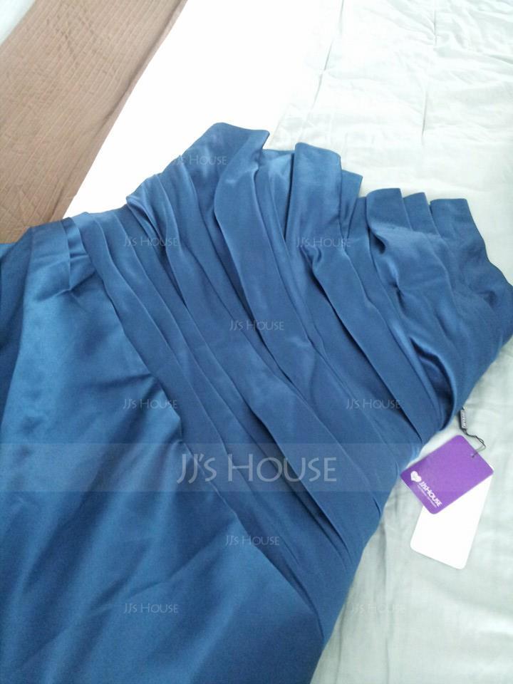 Платье для Балла Волнистый Церковный шлейф Атлас Пышное платье с Рябь (021020668)