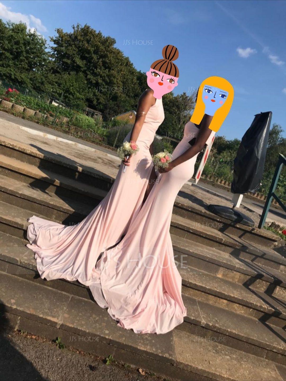 Trumpet/Mermaid Scoop Neck Court Train Jersey Evening Dress With Split Front (017094031)