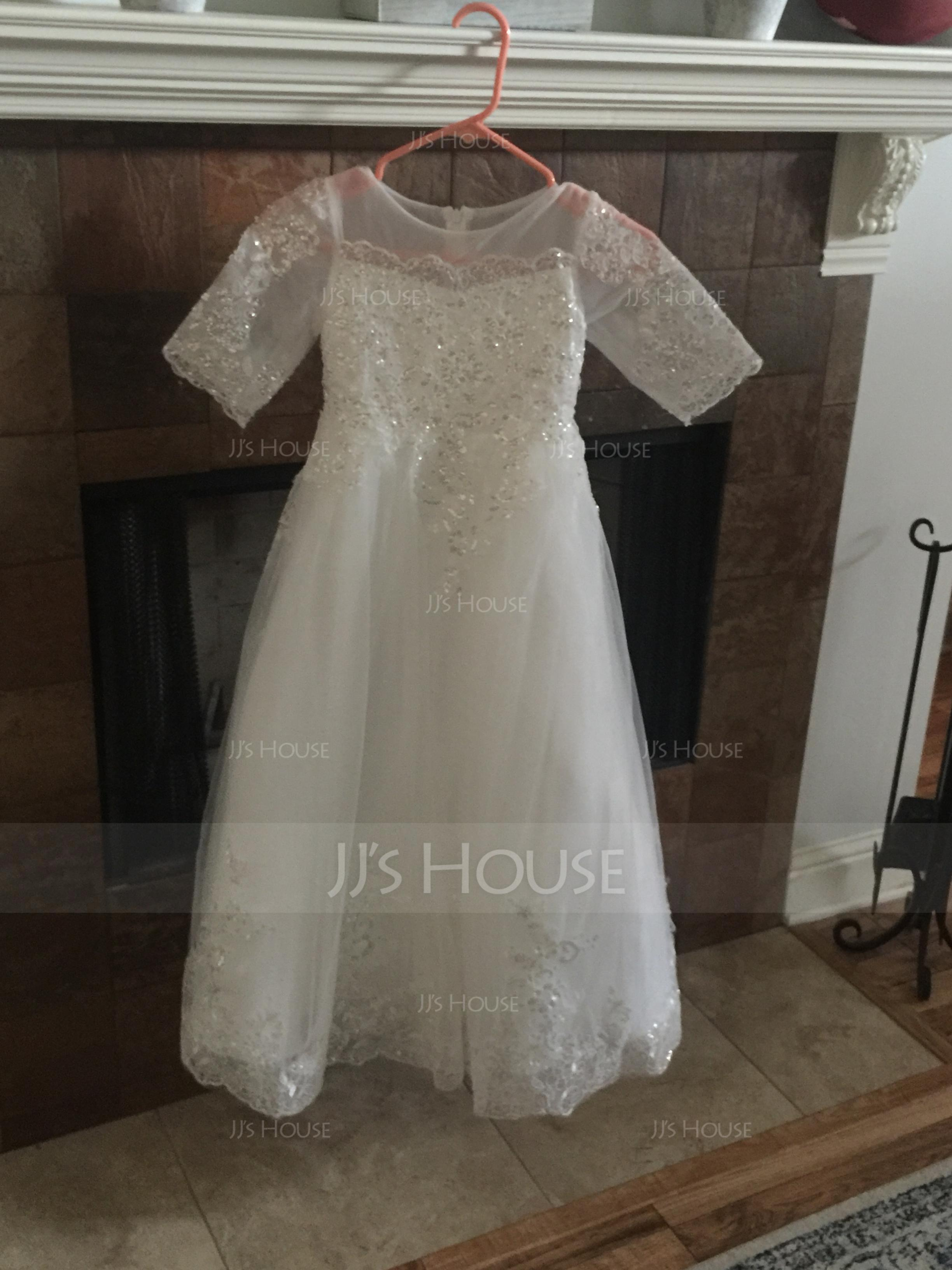Ball Gown Floor-length Flower Girl Dress - Tulle/Lace 1/2 Sleeves Scoop Neck With Sequins (010136579)