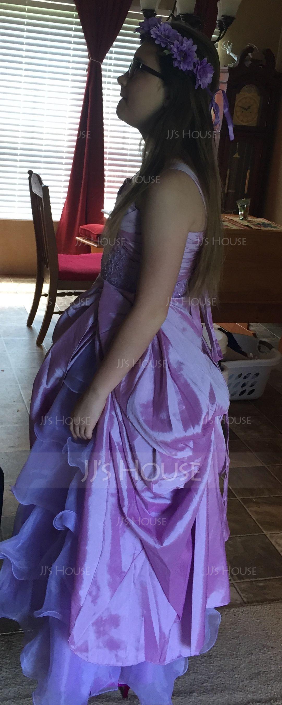 Balklänning Golvlång Klänningar för Brudnäbb - Taft/Organzapåse Ärmlös axelband med Rufsar/Beading/Applikationer Spetsar/Plocka upp Kjol (010005784)
