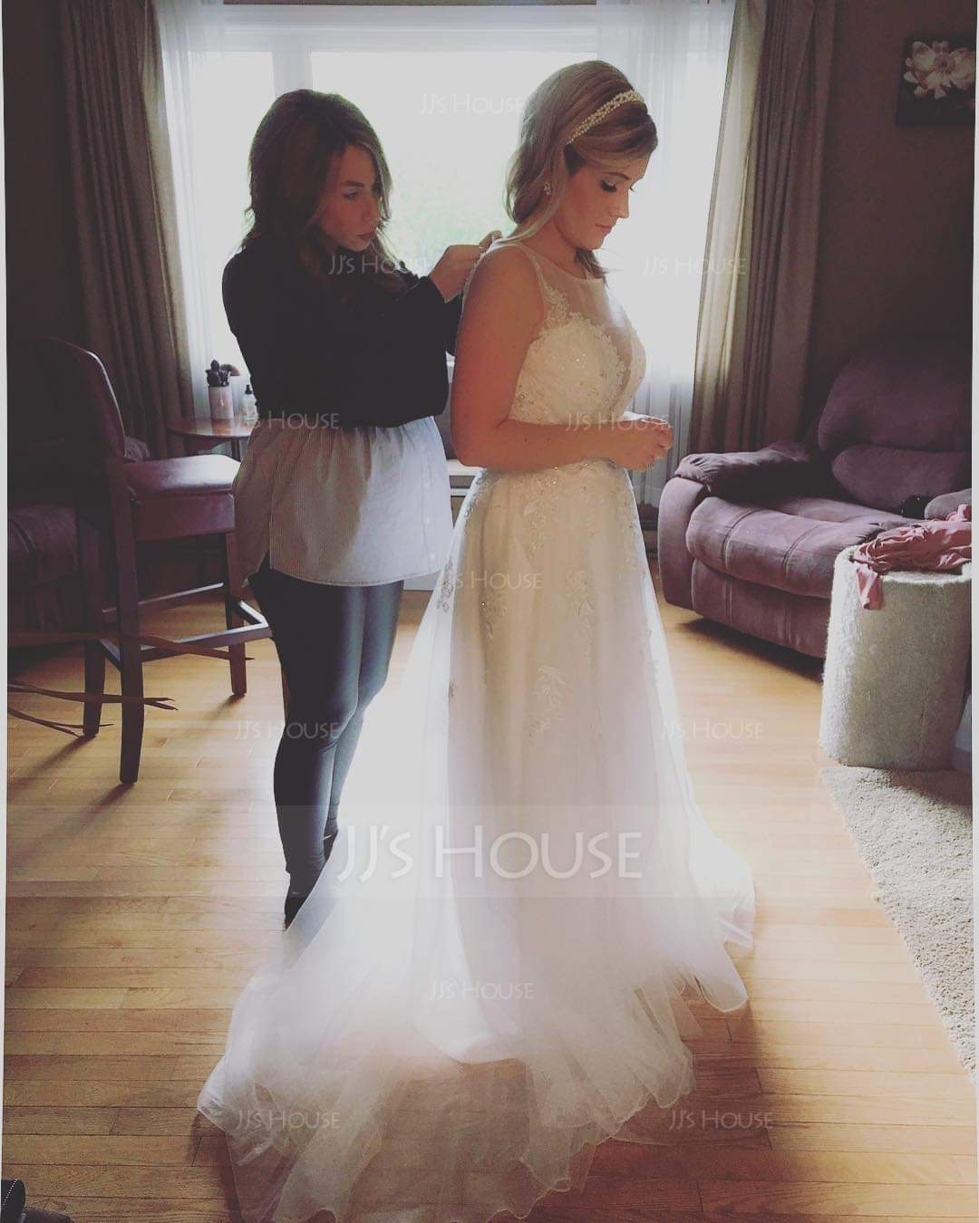 4e7620ba1a50 A-Line Illusion Sweep Train Tulle Wedding Dress With Beading Sequins ...